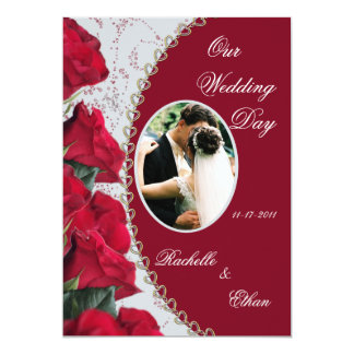 Elegant Red Rose Wedding Photo Invitations