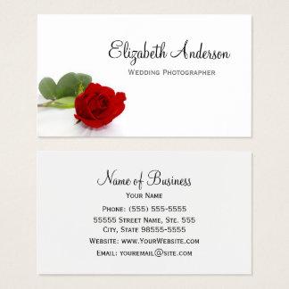 Elegant Red Rose Wedding Photographer Business Card