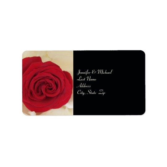 Elegant Red Rose Wedding Return Address Label