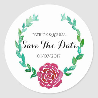 Elegant Red Rose Wreath Save The Date Sticker