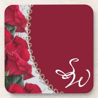 Elegant Red Roses Monogram Wedding Coaster Set