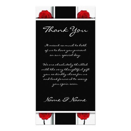 Elegant red roses - wedding thank you cards photo greeting card