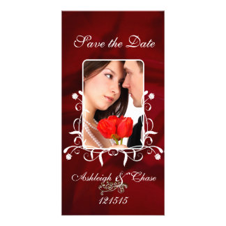 Elegant Red Satin Save the DateYour Photo Picture Card