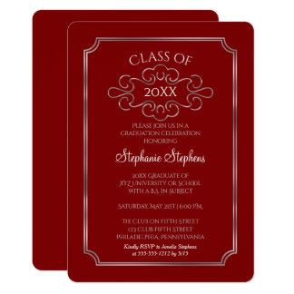 Elegant Red   Silver College Graduation Party Card