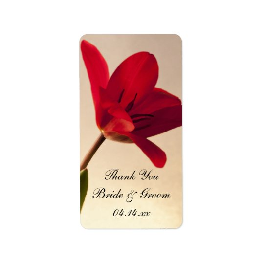 Elegant Red Tulip Wedding Thank You Favour Tags Address Label