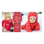 Elegant Red & White 2 Photo Christmas Photo Card