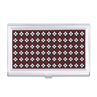 Elegant Red & White Argyle Pattern on Black Business Card Holder