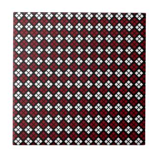 Elegant Red & White Argyle Pattern on Black Ceramic Tile