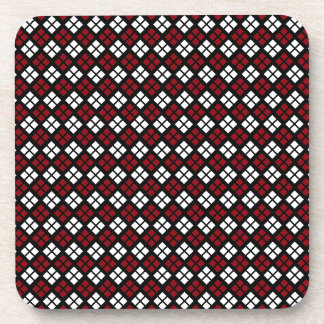 Elegant Red & White Argyle Pattern on Black Coaster