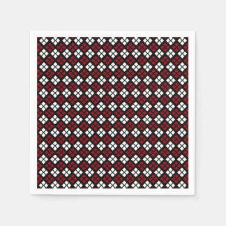 Elegant Red & White Argyle Pattern on Black Disposable Serviettes