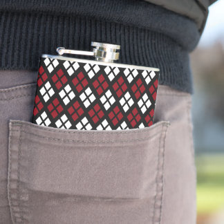 Elegant Red & White Argyle Pattern on Black Hip Flask
