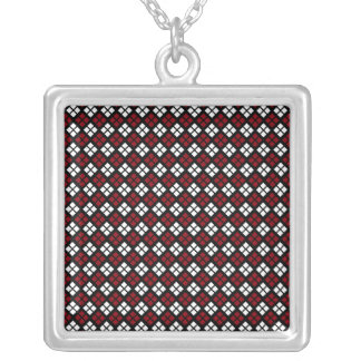 Elegant Red & White Argyle Pattern on Black Silver Plated Necklace