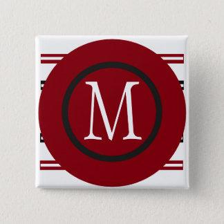 Elegant Red White Black Line Design With Monogram 15 Cm Square Badge
