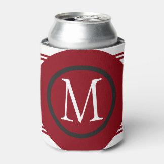 Elegant Red White Black Line Design With Monogram Can Cooler