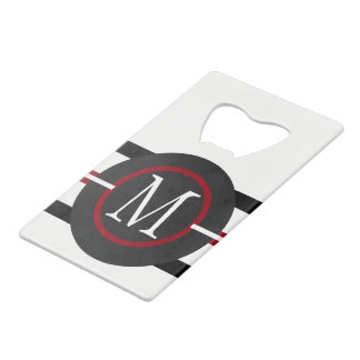 Elegant Red, White & Black Lines With Monogram