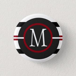 Elegant Red, White & Black Lines With Monogram 3 Cm Round Badge