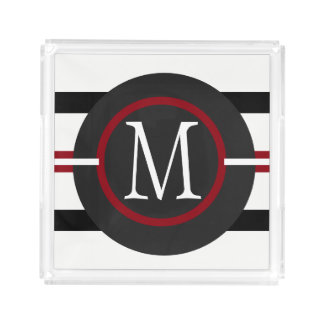 Elegant Red, White & Black Lines With Monogram Acrylic Tray