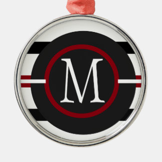 Elegant Red, White & Black Lines With Monogram Metal Ornament