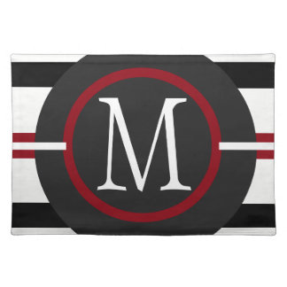 Elegant Red, White & Black Lines With Monogram Placemat