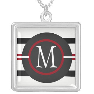 Elegant Red, White & Black Lines With Monogram Silver Plated Necklace