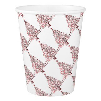 Elegant Red White Christmas Tree Pattern Paper Cup