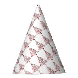 Elegant Red White Christmas Tree Pattern Party Hat