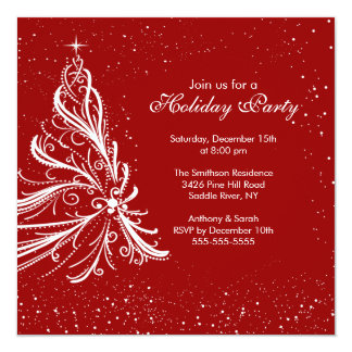 Elegant Red & White Holiday Christmas Party 13 Cm X 13 Cm Square Invitation Card