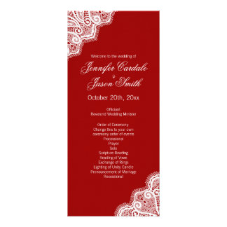 Elegant Red White Lace Vertical Wedding Programs Custom Rack Cards