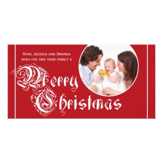 Elegant Red White Merry Christmas Photo Cards