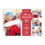 Elegant  Red & White Snow 4 Photo Greeting Card Personalised Announcements