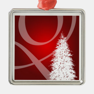 Elegant Red White Xmas Tree Decoration Silver-Colored Square Decoration