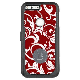 Elegant Red Wine Floral Wallpaper Swirl Monogram OtterBox Commuter Google Pixel XL Case