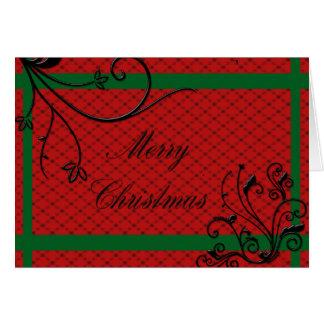 Elegant Red with Black embossed Swirls Christmas Card