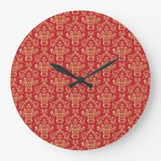 Elegant Red with Gold Damask Wall Clock