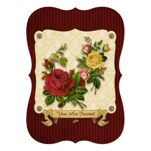 Elegant Red Yellow Roses Damask Vintage Cutouts Card