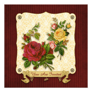 Elegant Red Yellow Roses Damask Vintage Cutouts Invites