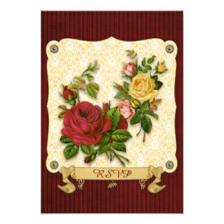 Elegant Red Yellow Roses Damask Vintage Cutouts Announcements