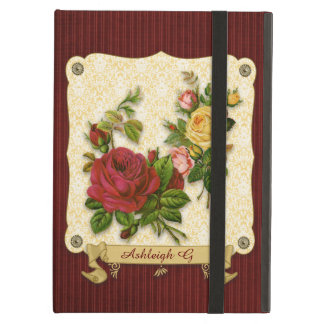 Elegant Red Yellow Roses Damask Vintage Cutouts iPad Air Cases