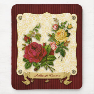 Elegant Red Yellow Roses Damask Vintage Cutouts Mouse Pad