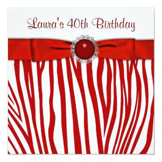 Elegant Red Zebra Birthday Party 13 Cm X 13 Cm Square Invitation Card
