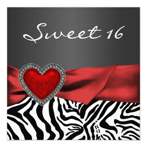 Elegant Red Zebra Sweet 16 Party Personalized Invitations