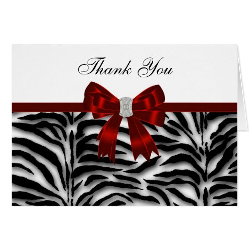 Elegant Red Zebra Thank You Greeting Cards