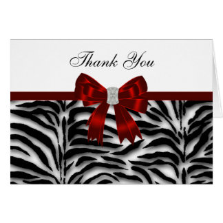 Elegant Red Zebra Thank You Note Card