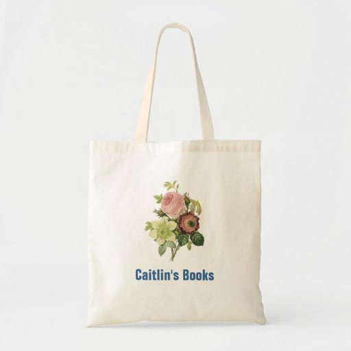 Elegant Redoute Flowers Custom Library Book Bag