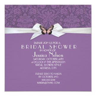 "Elegant Regal Tudor Damask Bridal Shower 5.25"" Square Invitation Card"