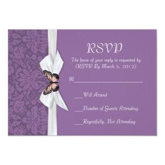"Elegant Regal Tudor Damask RSVP card 5"" X 7"" Invitation Card"