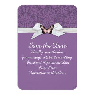 "Elegant Regal Tudor Damask Save the date 3.5"" X 5"" Invitation Card"