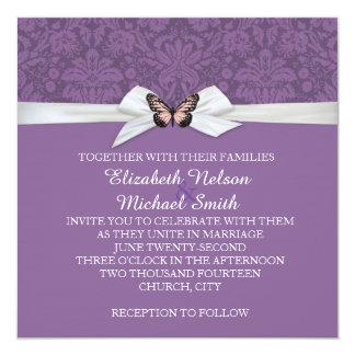 "Elegant Regal Tudor Damask Wedding Invite 5.25"" Square Invitation Card"