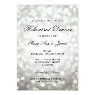 Elegant Rehearsal Dinner Silver Glitter Lights Card