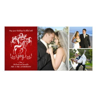 Elegant Reindeer Christmas Photo Collage Card Personalized Photo Card